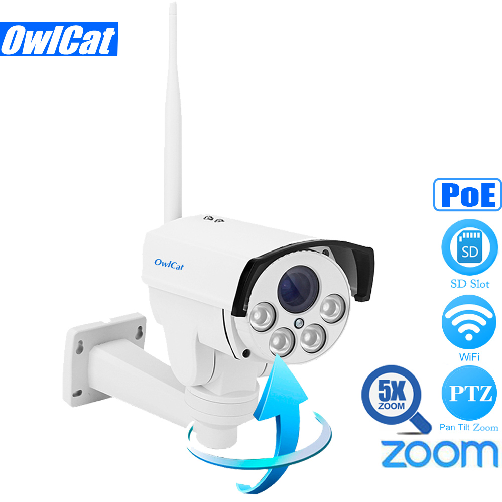 OwlCat SONY IMX323 HD 1080 P PoE Мини Пуля PTZ IP Камера WI FI открытый 5X Авто Focu 2,7 13,5 мм ИК Onvif SD карты CCTV WI FI Камера