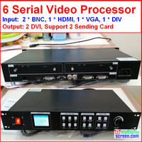 led rental display video processor Composite/DVI/vga input, support 2 sending card, 1920*1080 pixel,Led screen Video Processor