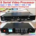 Exibição de aluguer levou processador de vídeo Composto/DVI/vga de entrada, suporte 2 cartão de envio, 1920*1080 pixels, tela Led Processador de Vídeo