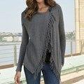 Blusas de Venda quente 2016 Outono Mulheres Blusas Sexy Borla Camisas de Algodão de Manga Longa O Pescoço Assimétrica Tops Plus Size