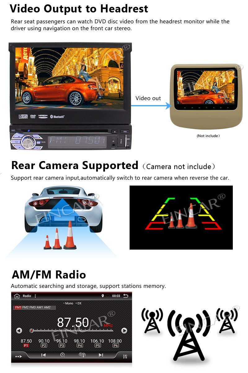 Android 6.0 Car Stereo 1 Din Car DVD Player GPS Navigation Headunit Bluetooth Autoradio Support 1080P Video WiFi+Reversing Ca