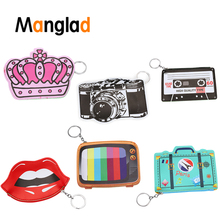Funny Leather Wallet Woman Fantasy Coin Purse Cute Camera Emoji TV Design Purse Girls Small Bag Key Ring Change Pouch стоимость