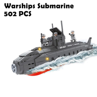 22806 502pcs Military Classic Weapon Navy Warships Submarine Building Block Brick Toy Compatible