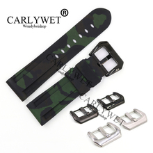 CARLYWET 24mm Wholesale Camo Green Waterproof Silicone Rubber Replacement Wrist Watch Band Strap Belt