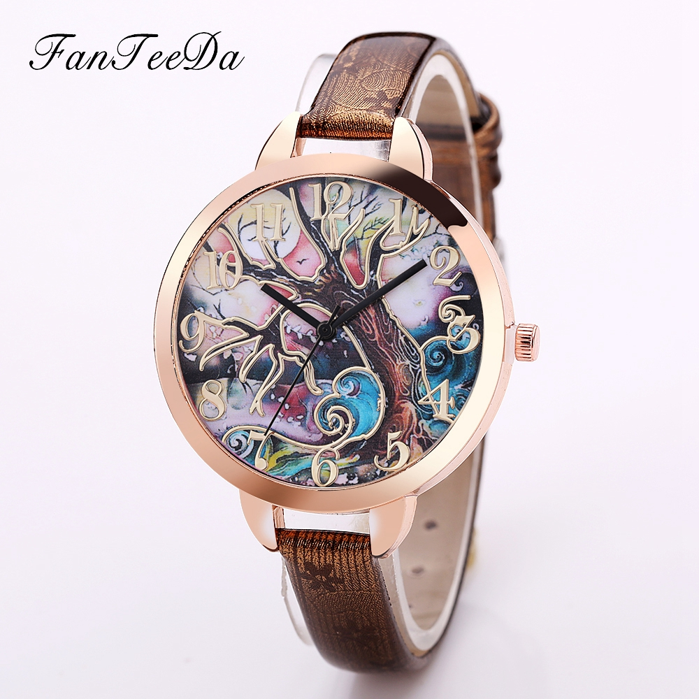 FanteeDa Hot Sale Top Luxury Brand Women Watches Tree Image Quartz Wrist Watch Fashion Casual Ladies Sport Vintage Clock weiqin hot sale luxury geneva brand crystal watch women ladies fashion dress quartz wrist watch relogios feminino 2017 clock