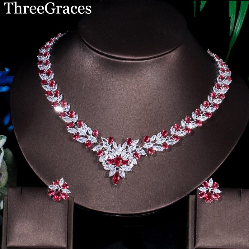 Ensembles de collier de déclaration de grande fleur de pierres de zircone rouge de forme Marquise de couleur d'or blanc de trois grâces pour des bijoux de partie de femmes JS106