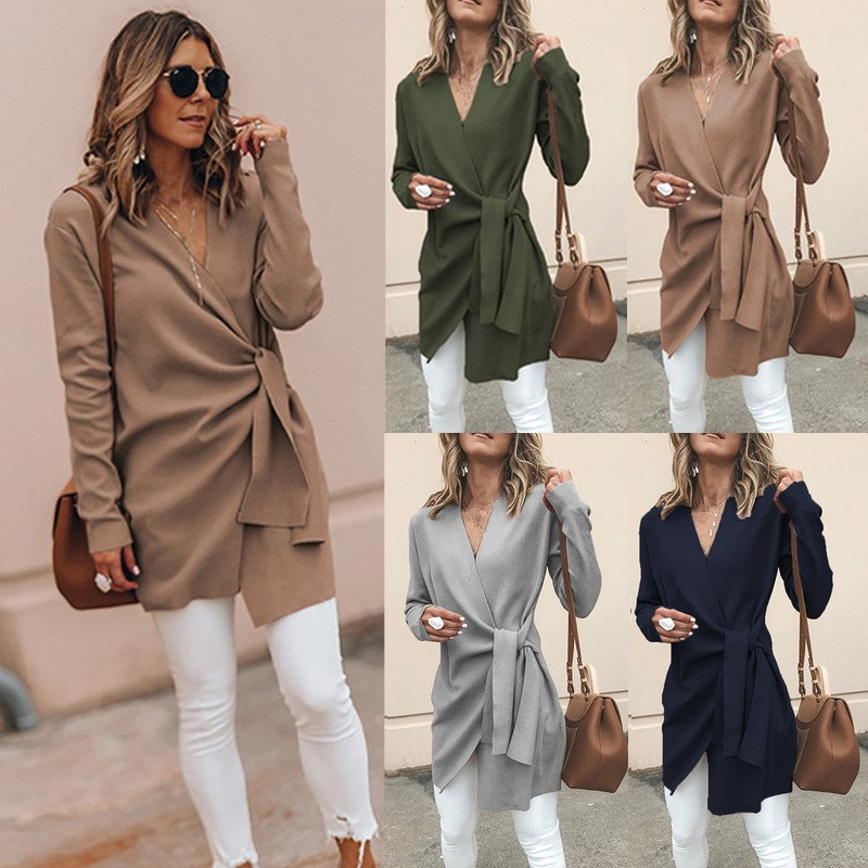 Woolen Blend Solid Outwear Women V Neck Lace up Thin Coats 2018 Autumn Casual Female Overcoats in Wool amp Blends from Women 39 s Clothing