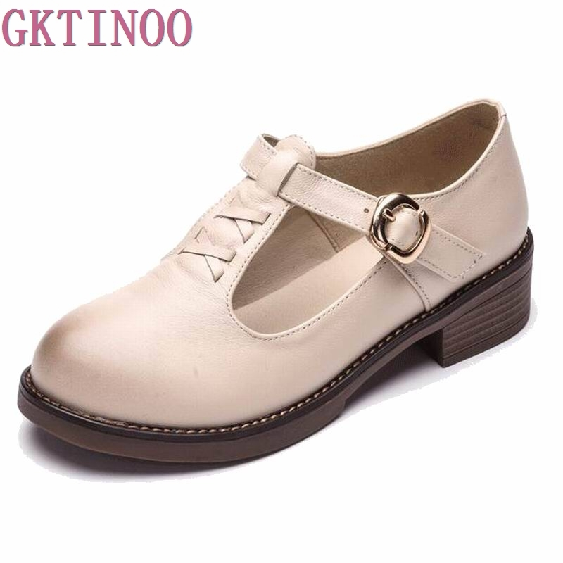2017 Spring Autumn Shoes Woman 100% Genuine Leather Women Pumps Lady Leather Round Toe Platform Shallow Mouth Shoes Size 35-40 women shoes spring autumn 100