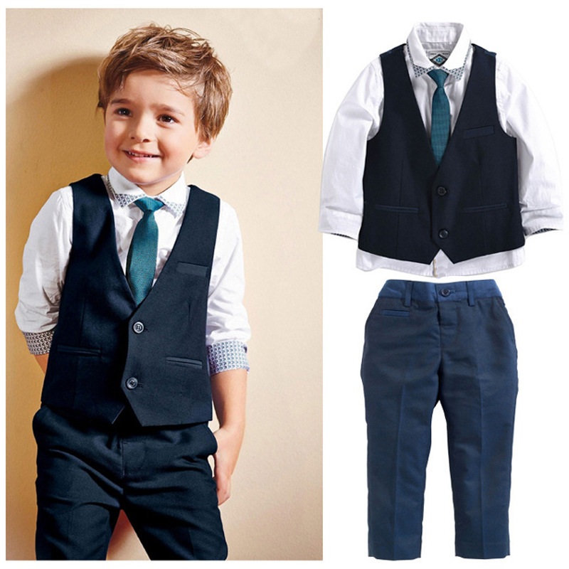 2017 Brand New boy wedding clothes set 4pcs White shirt + vest +pants + tie baby boy gentleman suit korean children clothing new 2018 spring fashion baby boy clothes gentleman suit short sleeve stitching plaid vest and tie t shirt pants clothing set