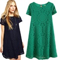 Estilo europeo del verano nuevas llegadas 2015 de las mujeres vestidos de encaje de la moda casual plus size dress ropa blanco negro rojo verde
