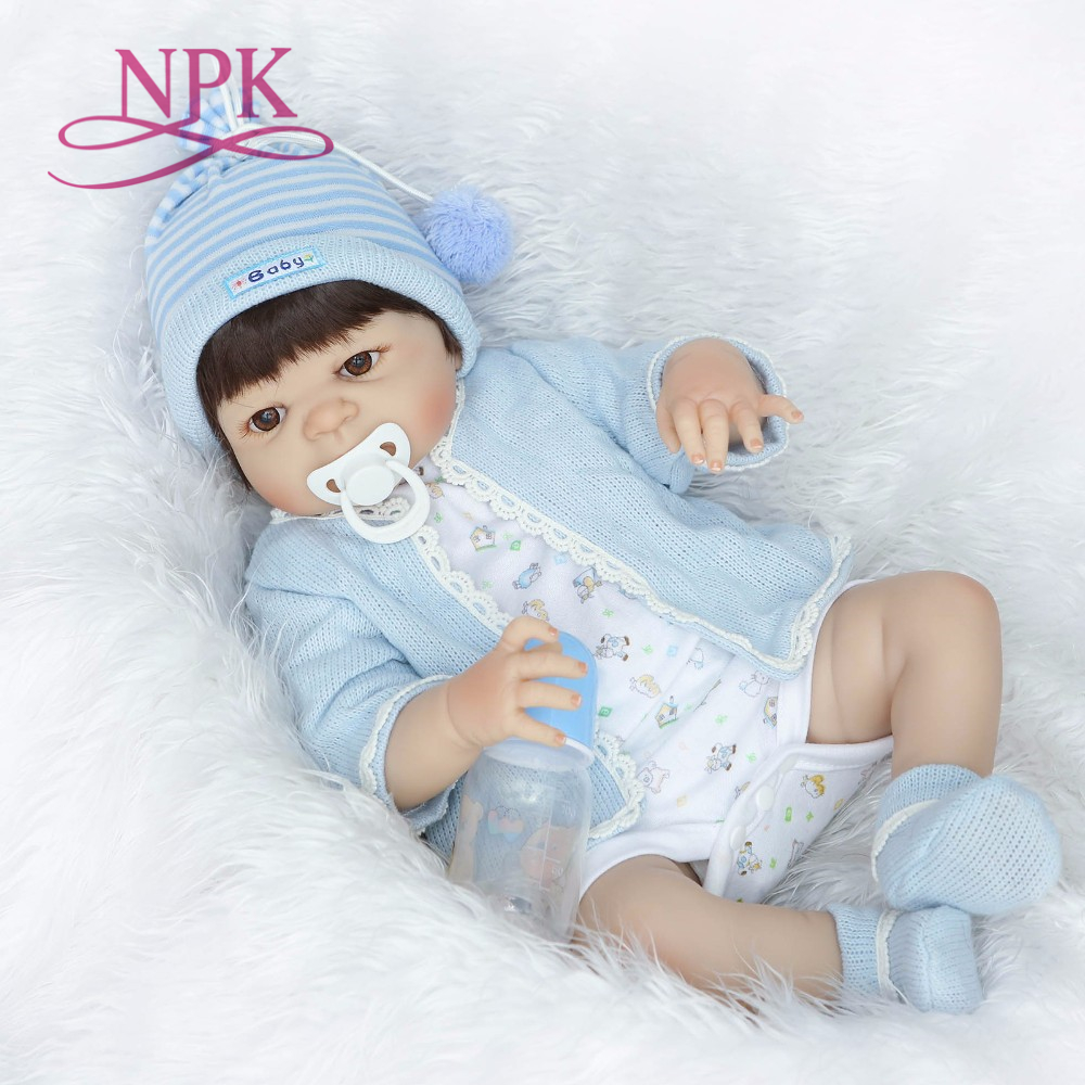 NPK 55cm Full Silicone Vinyl Reborn boy brinquedos Doll Toys 22inch Newborn Bebe Princess Babies Alive
