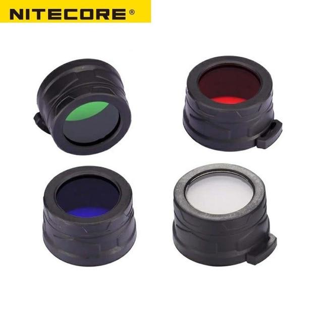 1pc best price Nitecore color filtro 40mm NFR40 NFB40 NFG40 NFD40 adecuado para EA4 P25 linterna con la cabeza de 40mm in Portable Lighting Accessories from Lights Lighting