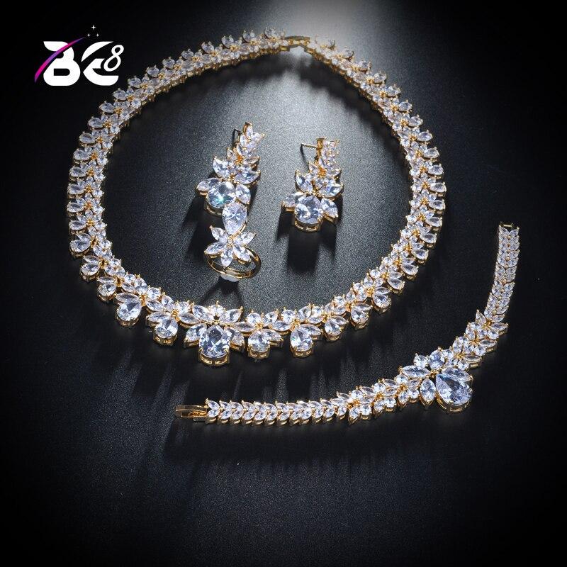 Be 8 nouveau Design de luxe AAA Zircon goutte d'eau forme collier pendentif boucle d'oreille ensemble pour les femmes, haute qualité fête/bijoux WeddingS154