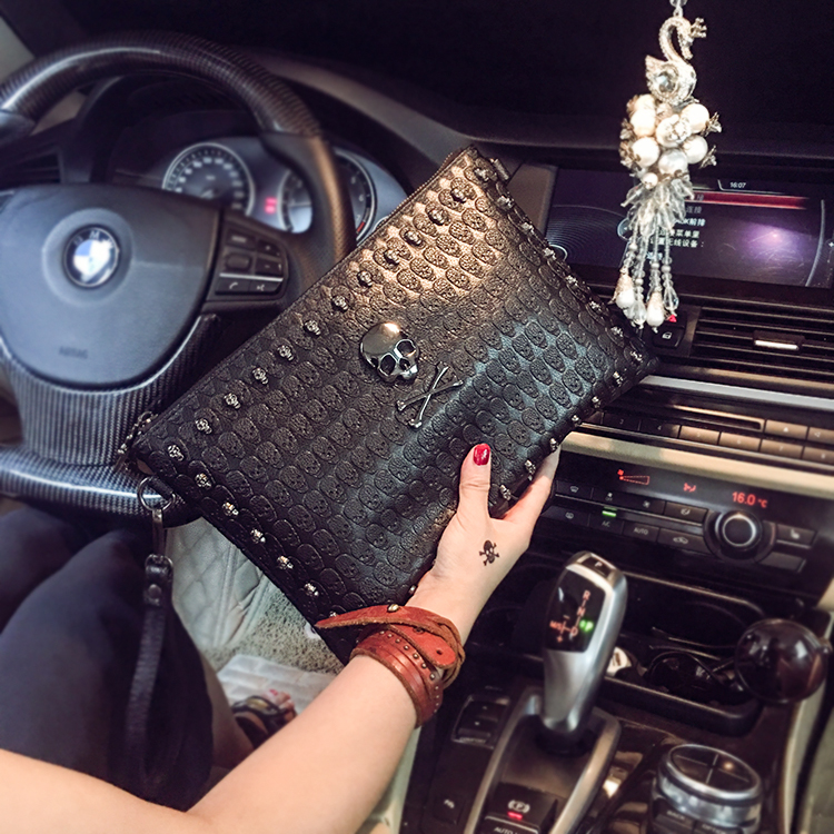 New Unisex Women Envelope Clutch Handbag Skull Bag 3d Printed Casual Bag For Men Large Capacity Shoulder Bag Free Shipping