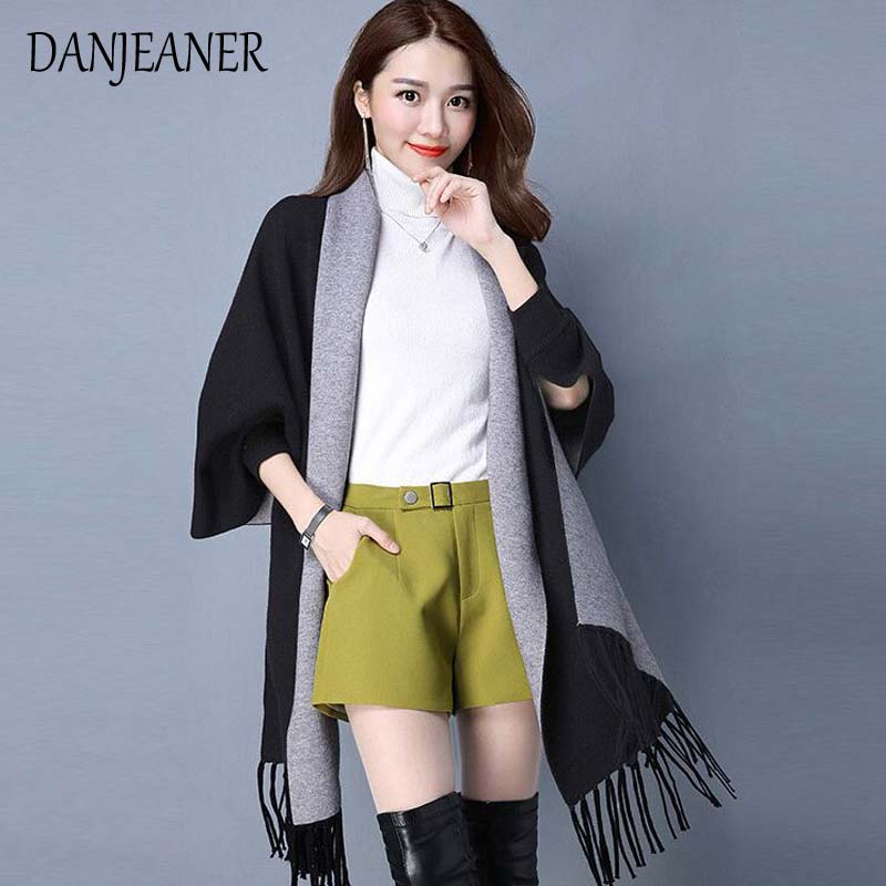 2018 Autumn New Women's Elegant Socialite Cashmere Tassel Cardigan Sweaters Batwing Sleeves Scarf Cape Outwear Good Quality