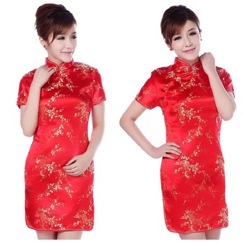 2020 New Red Chinese Women Traditional Dress Silk Satin Cheongsam Mini Sexy Qipao Flower Wedding Dress Size S M L XL XXL black traditional chinese dress mujer vestido women s satin qipao mini cheongsam flower size s m l xl xxl xxxl 4xl 5xl 6xl j4039