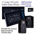 "Free shipping! WD02KR22 7"" LCD Door Phone 8GB Intercom HD 2xCamera 2xMonitor DVR Home Security Doorbell"