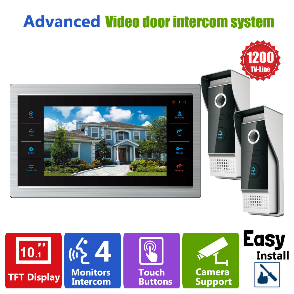 Homefong 10 inch HD Door Phone Video Doorbell System with Camera Wired Video 1200TVL 2V1 Home Apartment Entry Kit