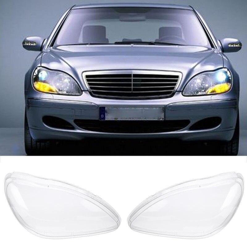 Mayitr 1 Paia Lato Destro e Sinistro Del Faro Chiaro Copriobiettivo per Benz W220 S280 S320 S350 S500 S600 1998-2005 Trasparente Housing