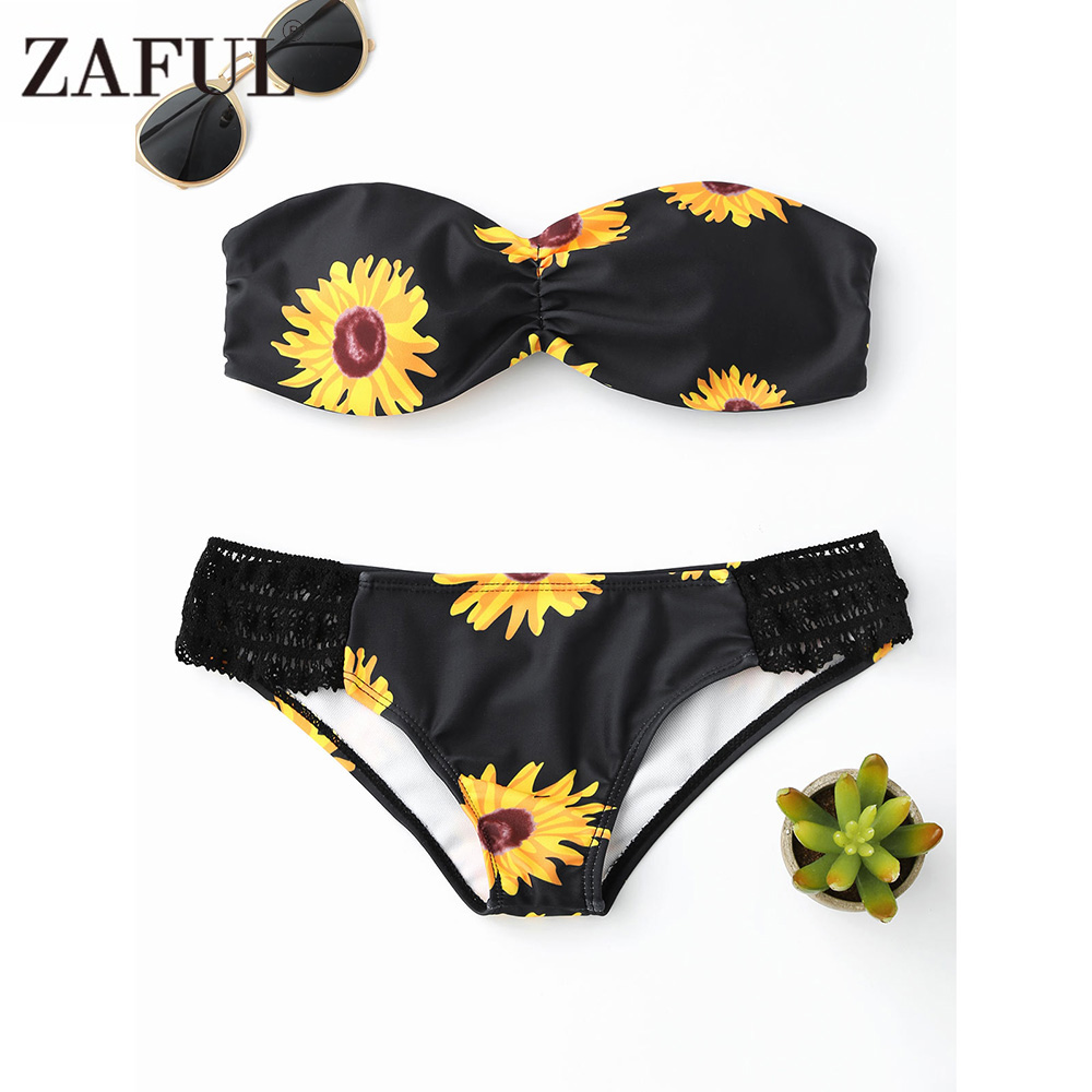 ZAFUL Sunflower Print Bandeau Bikini Swimwear Women Push Up Bathing Suit Swimsuit Beach Wear Maillot De Bain Femme Black Bikini swimwear bikini high waist swimsuit women bikini set 2016 push up biquini maillot de bain femme beach bathing suit swim wear