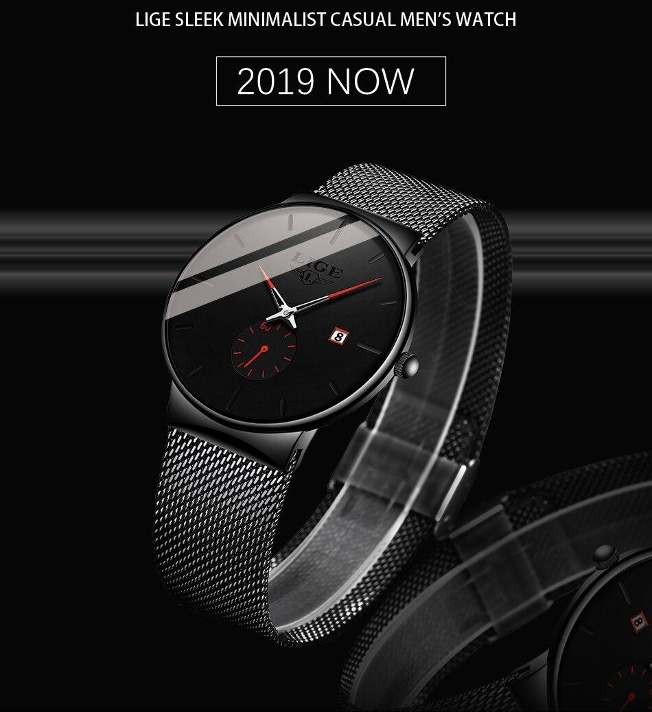 HTB1o4ilXhv1gK0jSZFFq6z0sXXah 2019 LIGE Mens Watches Top Brand Luxury Fashion Wrist Watch For Men Quartz Clock Clock Male Ultra-Thin Mesh Belt Waterproof+Box