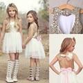 Lentejuelas Princesa Niños Del Bebé de La Flor Vestido de La Muchacha Del Bowknot vestido de Fiesta Sin Respaldo Vestidos 3-9Y