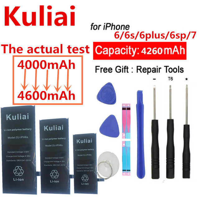Kuliai  Phone Battery For iPhone 6 6S Plus 6Plus 6SPlus 7 iPhone6 High Capacity Replacement Lithium Polymer Bateria + Free Tools