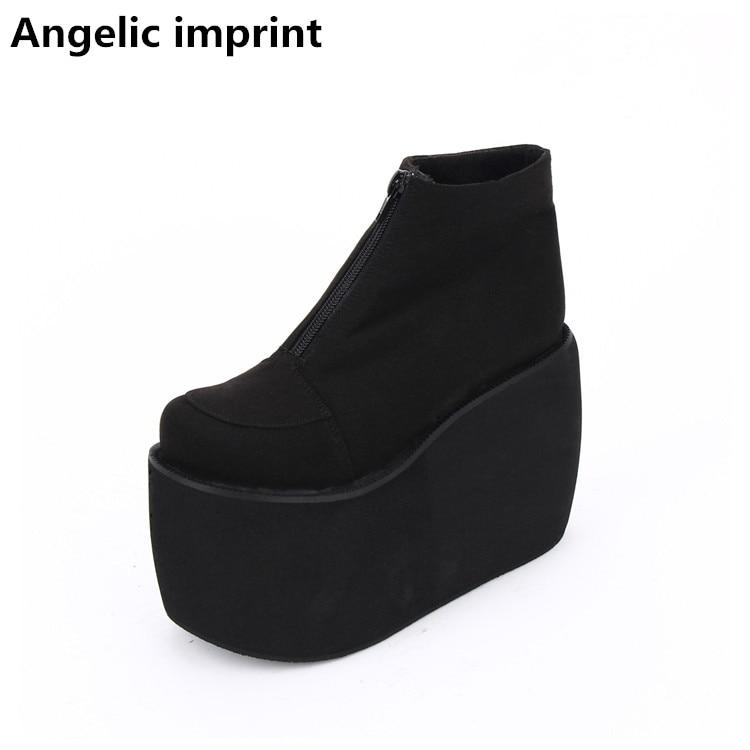 Angelic imprint 여성 펑크 오토바이 부츠 레이디 로리타 발목 부츠 여성 사소한 뒤꿈치 펌프 플랫폼 웨지 신발 짧은 부츠 47-에서앵클 부츠부터 신발 의  그룹 1
