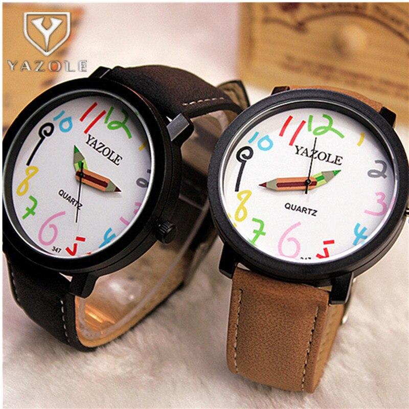 YAZOLE Brand Women's Watches Fashion Pencil Ladies Watch Women Watches Casual Leather Strap Clock Reloj Mujer Zegarek Damski