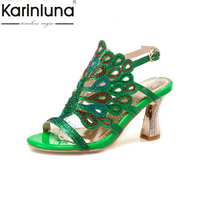 KARINLUNA Rhinestone Women Sandals Hollow Out High Heel Open Toe Platform Shoes For Summer Woman Big Size 32-46 chic rhinestone faux turquoise oval hollow out necklace for women