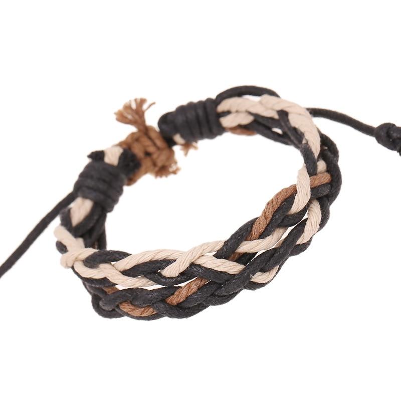 Gnova New Korean Fashion Men Leather Bracelet Man Retro Manual Wax Rope Braid Bracelet Boy Gift Women's Bracelet