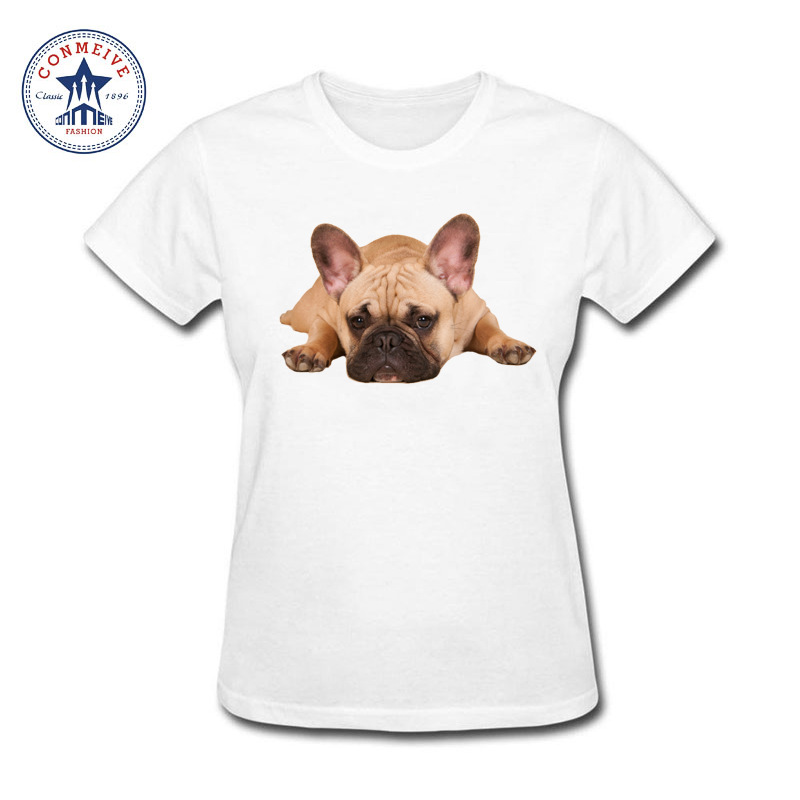 2017 Natural Cotton girls cute lazy French Bulldog Dog Funny funny t shirt women