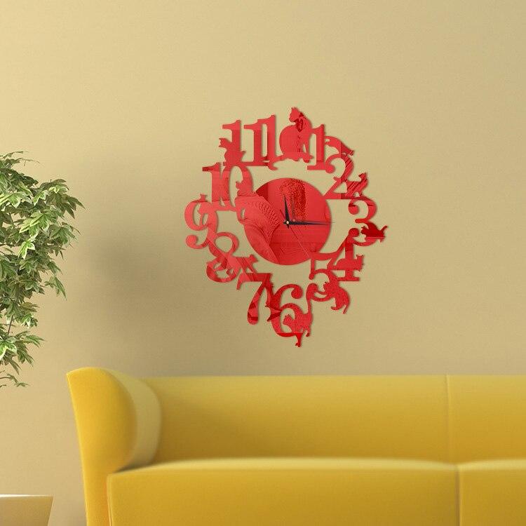 Cat Design DIY Wall Clock Digital Quartz Acrylic Wall Living Room 3D ...