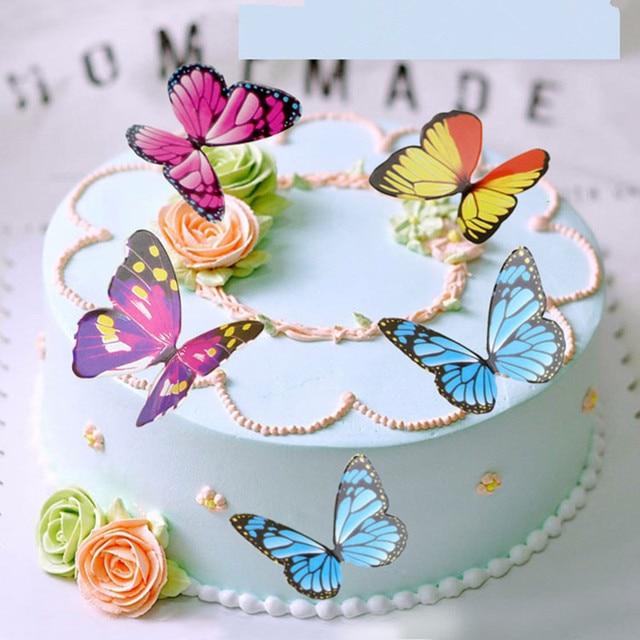 50 pcs 3d diy creative papillon g teau d coration de - Decoration gateau papillon ...