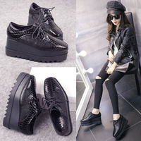 Oxfords Shoes For Women Brogue Derby Black Women's Oxfords Shoes Loafers Platform Ladies Shoes Creepers sapato feminino