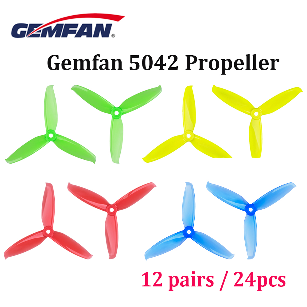 24pcs /12pair Gemfan Windancer 5042 5x4.2 Inch PC 3-Blade Propeller For FPV Freestyle Frame FPV Drone Quadcopter Chameleon