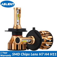 цена на ASLENT H4 H7 LED Headlight Bulbs H11 9005 9006 HB3 HB4 SMD Chips Lens Car Lamp Auto Headlamp Fog Light 12v 24v 80W 10000LM 6500K
