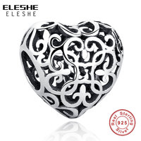 Original Gift Charms Fit Pandora Bracelet Necklace Pure 925 Sterling Silver Openwork Flower Floral Heart Beads