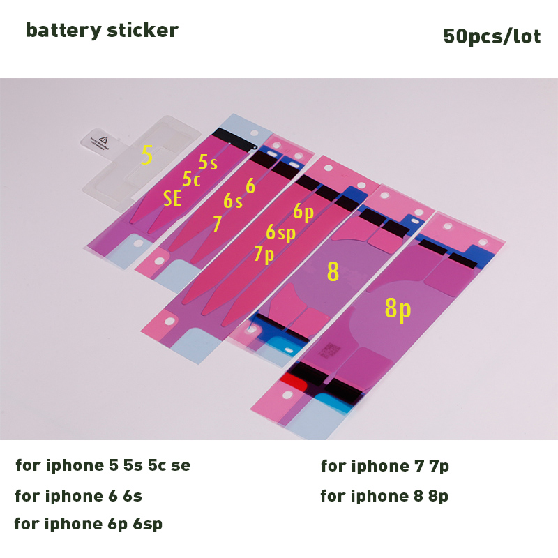 Moybmax 50pcs/lot Anti-Static battery sticker adhesive Strips Sticker Tape Glue for iphone 5 5s 5c se ,6 6p 6s 6sp,7 7p,8,8p