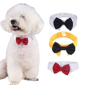 2018 Cute Pet Dog Cotton White Tie and Red Bow Dog Puppy  Bow Tie Necktie For Pet Dog Wedding Party Accessories 1