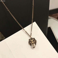 Hip Hop Lion Head Copper Pendant Necklace For Men Women Luxury Jewelry Friendship Gift