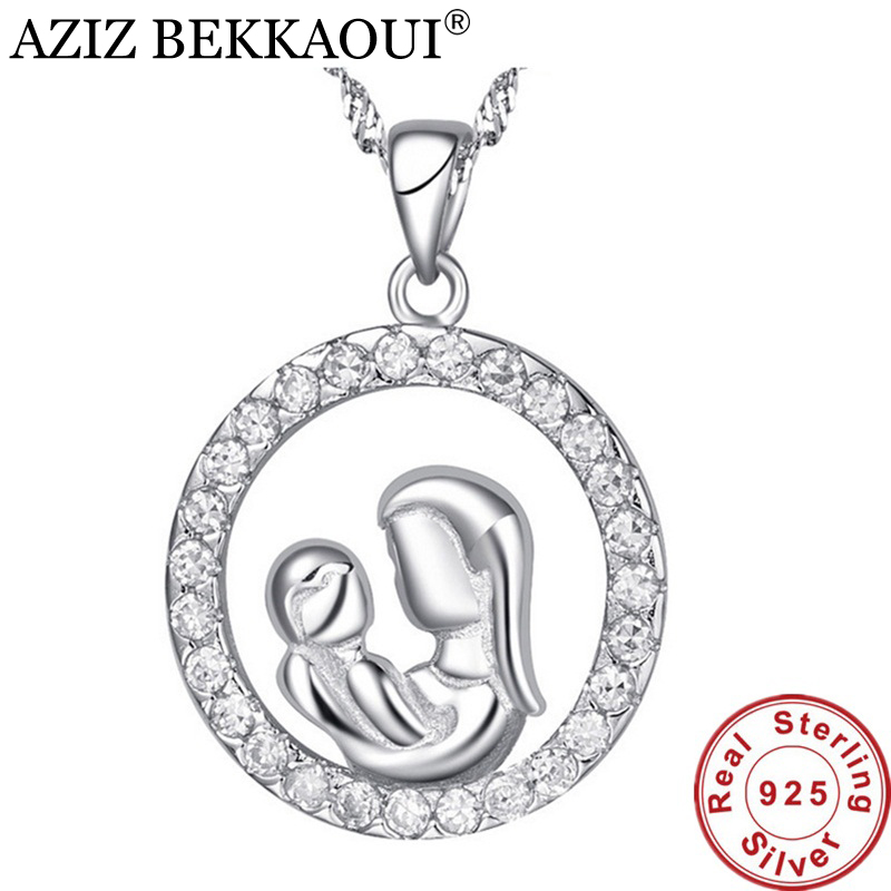 AZIZ BEKKAOUI 100% Real Pure 925 Sterling Silver Pendant Mother hold Baby Pendant Gift for Mom Mother's day gift Jewelry for Mom
