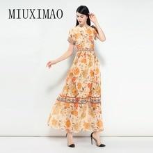 2018 Newest Spring & Summer Elegant O-Neck Short Sleeve Pattern Print A-Line Best Quality Ankle-Length Long Dress Women