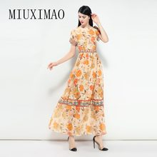 2018 Newest Spring & Summer Newest Elegant O-Neck Short Sleeve Pattern Print A-Line Best Quality Ankle-Length Long Dress Women(China)
