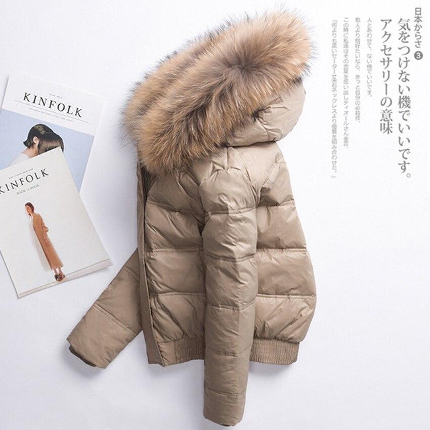 Winter   Coat   Women Short   Down     Coat   Fur Collar Detachable Warm Outerwear   Down   Jacket Hooded Zipper Black Khaki C95291