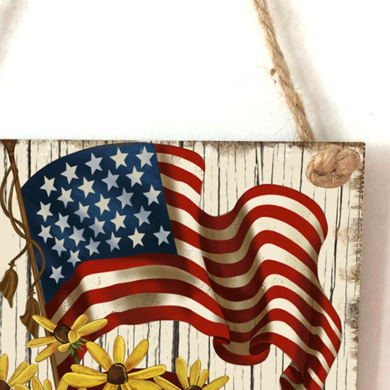 Image 4 - Vintage Wooden Hanging Plaque America Sign Board Wall Door Home Decoration Independence Day Party Gift-in Plaques & Signs from Home & Garden