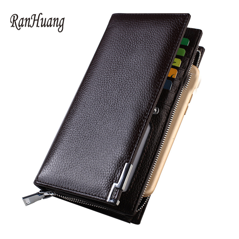 ФОТО RanHuang 2017 Genuine Leather Wallets High Quality Men's Cowhide Wallet Designer Business Card Holder Fashion Clutch Bags A146
