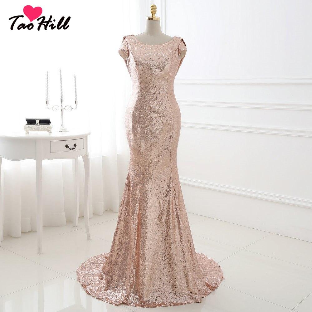 TaoHill TaoHill pas cher sirène demoiselle d'honneur D Long dos nu Scoop cou Cap manches Champagne or paillettes robe de soirée robe formelle