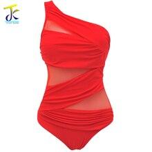 Hot Mesh Side Front Shirred Bandeau One Piece Swimsuit For Women Lingerie Maillot Swimwear Female Single shoulder strap Monokini