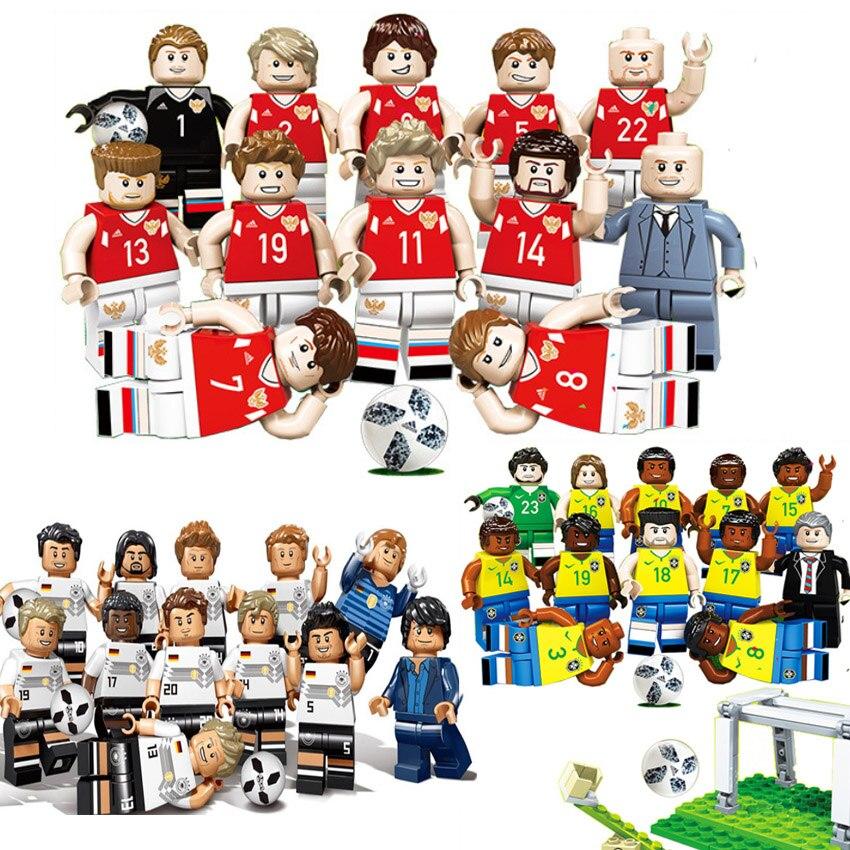 2018 nuevo equipo de fútbol Legoing figuras deportivas Brasil Rusia Alemania Pogba Ronaldo Messi modelo bloques de construcción juguetes figuras niños